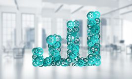 Concept of progress and income in business presented by going up arrow. Growing arrow graph made of gears and cogwheels on white office background. 3d rendering Royalty Free Stock Photography