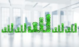 Concept of progress and income in business presented by going up arrow. Growing arrow graph made of gears and cogwheels on white office background. 3d rendering Stock Images