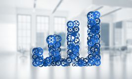 Concept of progress and income in business presented by going up arrow. Growing arrow graph made of gears and cogwheels on white office background. 3d rendering Royalty Free Stock Photos