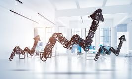 Concept of progress and income in business presented by going up. Growing arrow graph made of gears and cogwheels on white office background. 3d rendering Royalty Free Stock Images