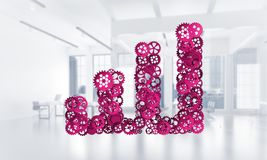 Concept of progress and income in business presented by going up arrow. Growing arrow graph made of gears and cogwheels on white office background. 3d rendering Royalty Free Stock Image