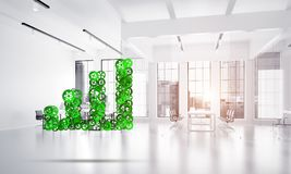 Concept of progress and income in business presented by going up arrow. Growing arrow graph made of gears and cogwheels on white office background. 3d rendering Stock Photos