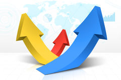Growing arrows and financial statistics. Image of three growing arrows with world map background and financial graph Royalty Free Stock Photo
