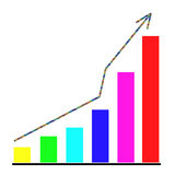 Growing bar chart. And  rising arrow Royalty Free Stock Photography