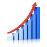 Growing bar chart with arrow Royalty Free Stock Photography