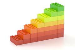 Growing bar chart from color building toy blocks, 3D rendering Royalty Free Stock Photos