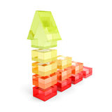 Growing Bar Chart Graph With Rising Arrow. 3d Render Illustration Royalty Free Stock Photography