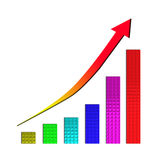 Growing bar chart and  rising arrow. On white background Royalty Free Stock Photo