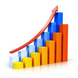 Growing bar charts with arrow Royalty Free Stock Photo