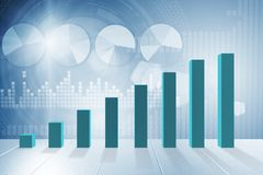 The growing bar charts in economic recovery concept - 3d rendering. Growing bar charts in economic recovery concept - 3d rendering Stock Photography