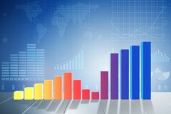 The growing bar charts in economic recovery concept - 3d rendering. Growing bar charts in economic recovery concept - 3d rendering Stock Images