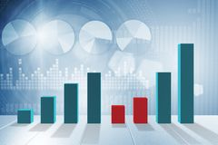 The growing bar charts in economic recovery concept - 3d rendering Royalty Free Stock Photos