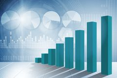 The growing bar charts in economic recovery concept - 3d rendering. Growing bar charts in economic recovery concept - 3d rendering Royalty Free Stock Photo