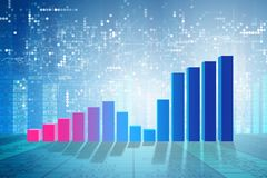 The growing bar charts in economic recovery concept - 3d rendering. Growing bar charts in economic recovery concept - 3d rendering Royalty Free Stock Photography