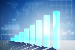 The growing bar charts in economic recovery concept - 3d rendering. Growing bar charts in economic recovery concept - 3d rendering Royalty Free Stock Photos