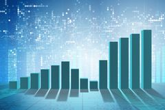 The growing bar charts in economic recovery concept - 3d rendering. Growing bar charts in economic recovery concept - 3d rendering Stock Image