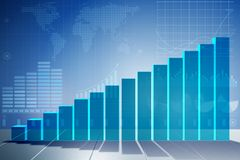 The growing bar charts in economic recovery concept - 3d rendering. Growing bar charts in economic recovery concept - 3d rendering Royalty Free Stock Image