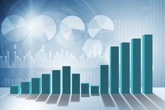 The growing bar charts in economic recovery concept - 3d rendering. Growing bar charts in economic recovery concept - 3d rendering Stock Photo