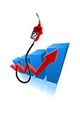 Growing bar graph with gasoline pump nozzle Royalty Free Stock Images
