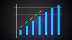 Growing bar graph with rising arrow, financial forecast graph, 3d render computer generated. Background stock illustration