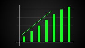 Growing bar graph with rising arrow, financial forecast graph, 3d render computer generated. Background royalty free illustration