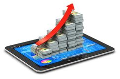 Growing bar graph from US dollars on tablet with stock exchange Royalty Free Stock Image