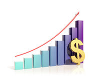 Growing bar graphs and dollar. On the white background Royalty Free Stock Photography