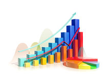 Growing bar graphs and pie chart Royalty Free Stock Image