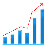 Growing blue bar chart and rising arrow Royalty Free Stock Photo