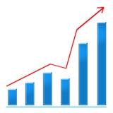 Growing blue bar chart and rising arrow. Growing blue bar chart and red rising arrow Royalty Free Stock Photo