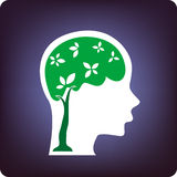 Growing brain. The growing mind on blue vector illustration