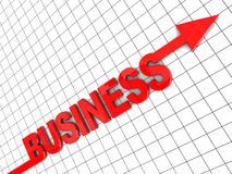 Growing business. 3d illustration of text 'business' with arrow, growing business concept Vector Illustration