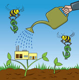 Growing Business. A metaphoric depiction of a business person growing their business Stock Photo