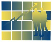 Growing business. Abstract male figures on blue-yellow backdrop , with space for writing royalty free illustration
