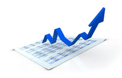 Growing business concept. One financial chart growing with a spreadsheet under it (3d render Stock Photos