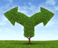 Growing Business Dilemma. Growing business options and financial dilemma due to growth in financial fortune as a tree and leaves in the shape of forked arrows Royalty Free Stock Images