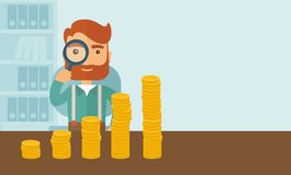 Growing business in financial aspects. A hipster Caucasian businessman with beard looking his growing business in financial crisis concept. Economy and money Stock Photo