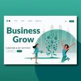 Growing Business- Flat Vector landing page illustration vector illustration