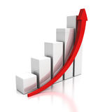 Growing business graph with rising arrow. 3d render illustration Stock Photos