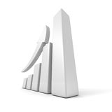 Growing business graph with rising arrow. 3d render illustration Stock Photo