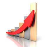 Growing business graph with rising arrow. 3d render illustration Royalty Free Stock Photos