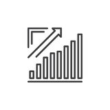 Growing chart, Arrow graph going up line icon, outline vector sign, linear pictogram isolated on white. Royalty Free Stock Images