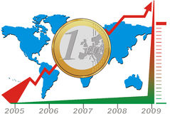 Growing Chart Of Euro. Coin placed on a world map, showing the strenght of the euro in five years. This vector illustration is suitable for economic, financial Stock Image