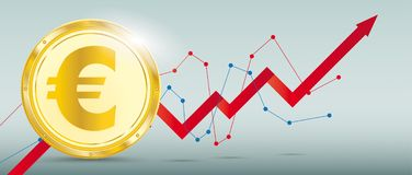 Golden Euro Coin Growth Chart. Growing chart with Euro coin on the green background Royalty Free Stock Images