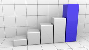 Growing chart or grey and blue bar graph. Business growth or success concepts. 3D rendering Royalty Free Stock Photography