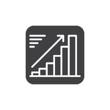 Growing chart icon vector, filled flat sign, solid pictogram isolated on white. Positive dynamic symbol, logo illustration. Pixel perfect Stock Photography