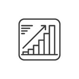 Growing chart line icon, outline vector sign, linear style pictogram isolated on white. Positive dynamic symbol, logo illustration. Editable stroke. Pixel Stock Photography