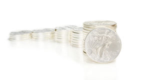 Growing chart made of silver coins and an ounce silver eagle Stock Photography