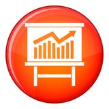 Growing chart presentation icon, flat style. Growing chart on presentation board icon in red circle isolated on white background vector illustration Stock Photos