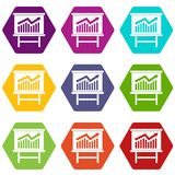 Growing chart presentation icon set color hexahedron. Growing chart on presentation board icon set many color hexahedron isolated on white vector illustration Royalty Free Stock Photography